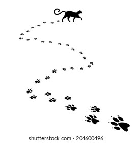 Cat paw print background. EPS 10 vector, grouped for easy editing. No open shapes or paths.