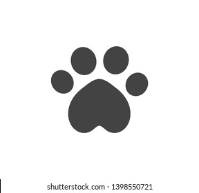 Cat paw print black icon. Vector illustration.