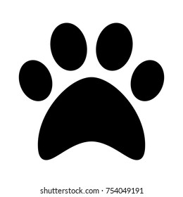 Cat, paw print. Flat icon and symbol. Vector illustration
