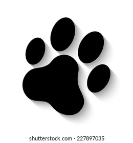 cat paw print icon - vector illustration with shadow