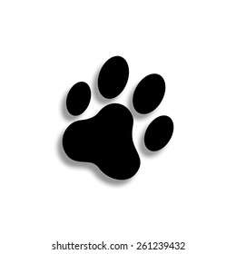cat paw print vector icon with shadow