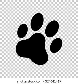 cat paw print vector icon - black illustration