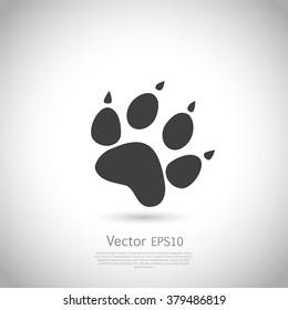Cat paw print vector icon.