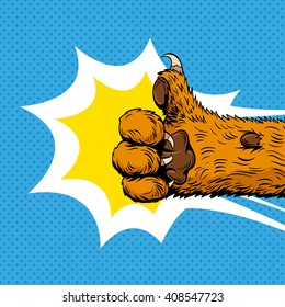 Cat paw shows like sign, hand drawn vector illustration. Comics style