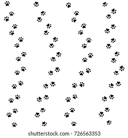 Cat paw track. Seamless animal pattern of paw footprint. Vector illustration