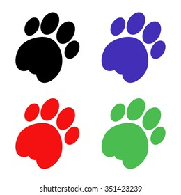 cat paw vector icon - colored set