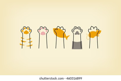 cat paws lines background, yellow wallpaper