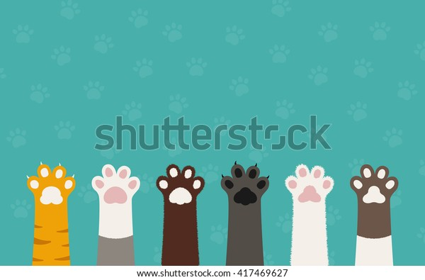 Cat Paws Wallpaper Legs Dog Paw Stock Vector Royalty Free 417469627