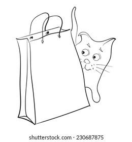 Cat peeking. Cat with a paper bag. Vector.