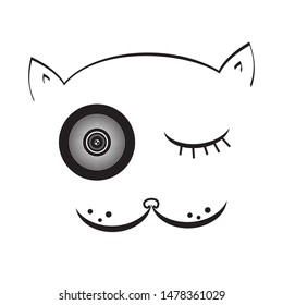 cat pet photography character illustration.Face logo icon vector,lens