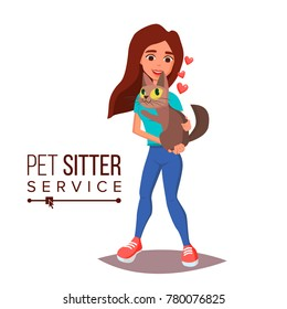 Cat Pet Sitter Vector. Cat Sitter Walking. Pet Taking A Rest. Cartoon Character Illustration