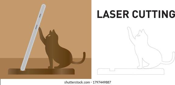Cat phone holder laser cutting template, cute decoration