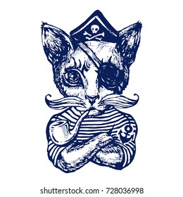 Cat The pirate hand drawn tattoo ink sketch stock vector illustration on white background coloring book page