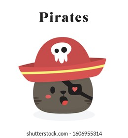 Cat Pirate Illustration. Vector EPS 10. Editable. Easy to Use.