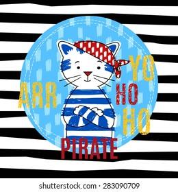 Cat pirate vector illustration, T-shirt boy design