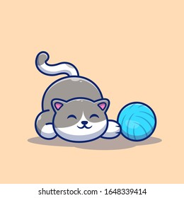 Cat Playing Ball Vector Icon Illustration. Cute Cat With Yarn Ball. Animal Icon Concept White Isolated. Flat Cartoon Style Suitable for Web Landing Page, Banner, Flyer, Sticker, Card, Background
