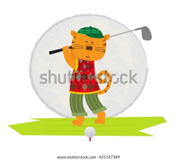 Cat Playing Golf Cartoon Clip Art Stock Vector Royalty Free 425147389