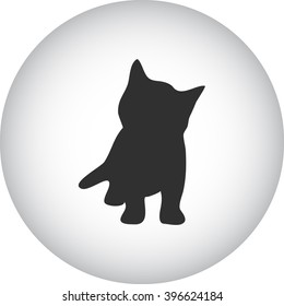 Cat playing kitten silhouette simple icon on round background