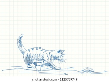Cat playing with mouse, Blue pen sketch on square grid notebook page, Hand drawn vector illustration