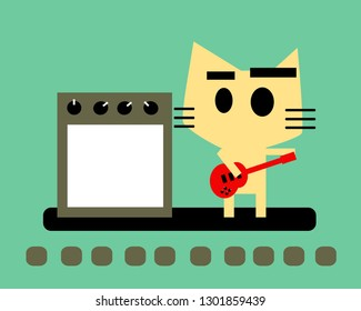 A cat playing red guitar with amplifier.