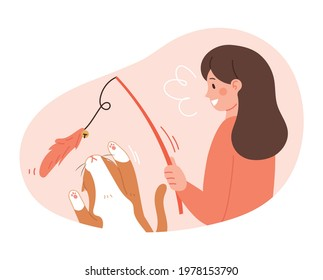 The cat is playing with a toy fishing rod. Daily life concept vector illustration of pets and owners.