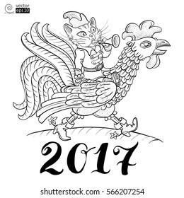 cat playing the trumpet and riding a cock, a symbol of the lunar or oriental year 2017. This can be used for coloring books, greeting cards, posters or t-shirts. Vector illustration.