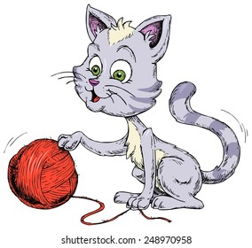 Cat playing with woolen ball  - Funny Pets - Domestic animals - Cartoon Illustration