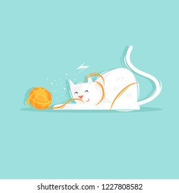 Cat plays with a ball of yarn. Flat design vector illustration.