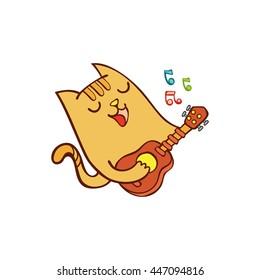 Cat plays guitar. Cartoon.