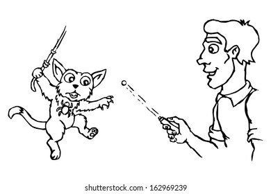 cat plays spider man human cat stock illustration 163723280