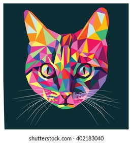 Cat in pop art colors, colorful low poly design isolated on dark background with a white outline. Animal portrait card.