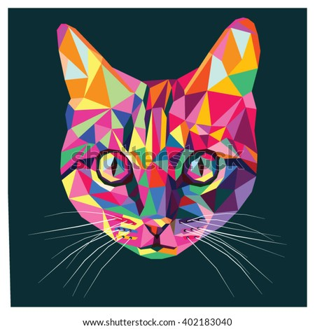 cat pop art colors colorful low stock vector royalty free