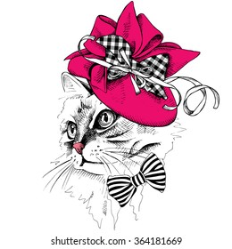 Cat portrait in profile in a Elegant women's hat with bow and ribbon. Vector illustration.