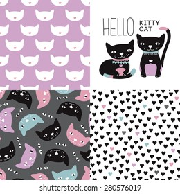 Cat postcard cover design and seamless kitten and cat illustration background pattern in vector