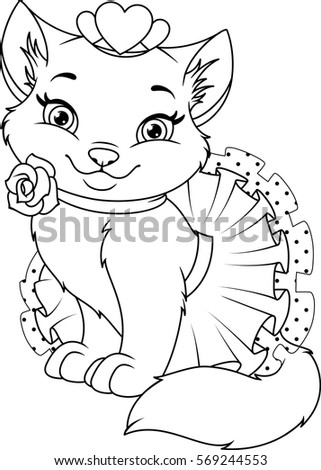 Cat Princess Coloring Page