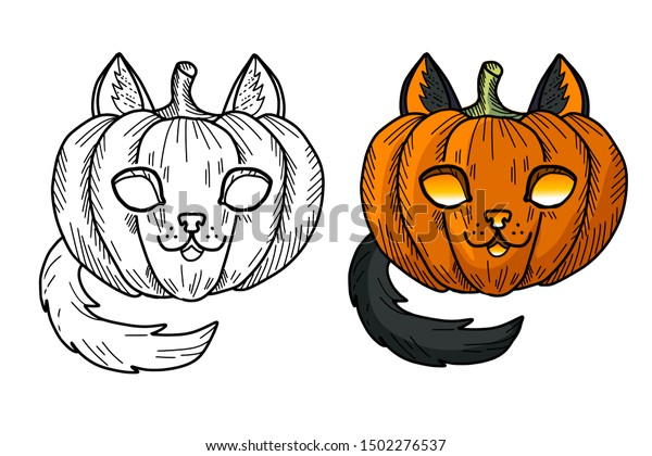 Pumpkin And Cute Cat Coloring Stock Vector - Illustration of ... | 420x600