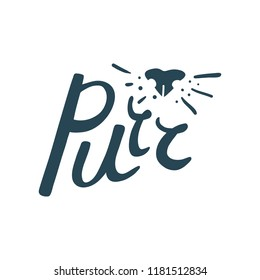 Cat Purr logo with nose and whiskers detail for pet brand, shop or blog. Hand-drawn brush lettering, clean, isolated on white background. Usable as overlay or on its own.