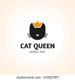 Cat queen animal logo design template. Vector logotype illustration of kitty with crown. Flat silhouette royal pet design isolated on background. Simple graphic cartoon character concept