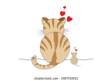 Cat and rat vector illustration on white background. Show love between cats and mice that were once enemies.