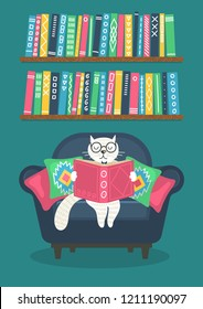 Cat reading book in armchair on teal background. Vector illustration.