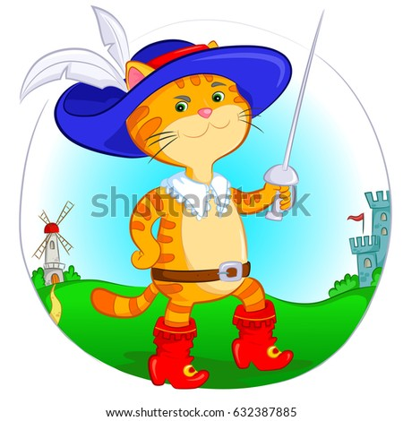 Cat Red Boots Blue Hat Stock V...