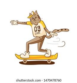 Cat riding skate. 9 lives t shirt design. Modern vector illustration with character design. Urban concept.