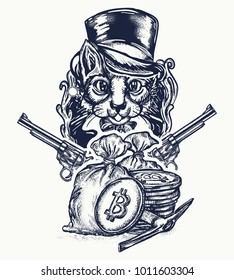 Cat robber tattoo. Hacking and darknet symbol. Cat gentleman with revolvers plunders cryptocurrency and bitcoins