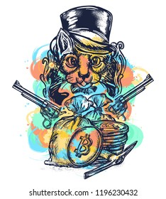 Cat robber tattoo watercolor splashes style. Сat gentleman with revolvers plunders cryptocurrency and bitcoins. Hacking and darknet