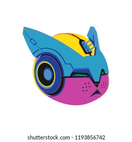 Cat robot illustration for technology logo and icon
