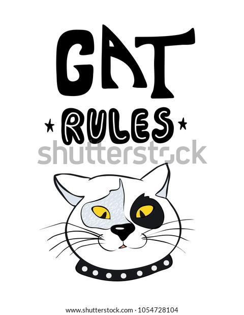 Cat Rules Funny Poster Cartoon Cat Stock Vector (Royalty