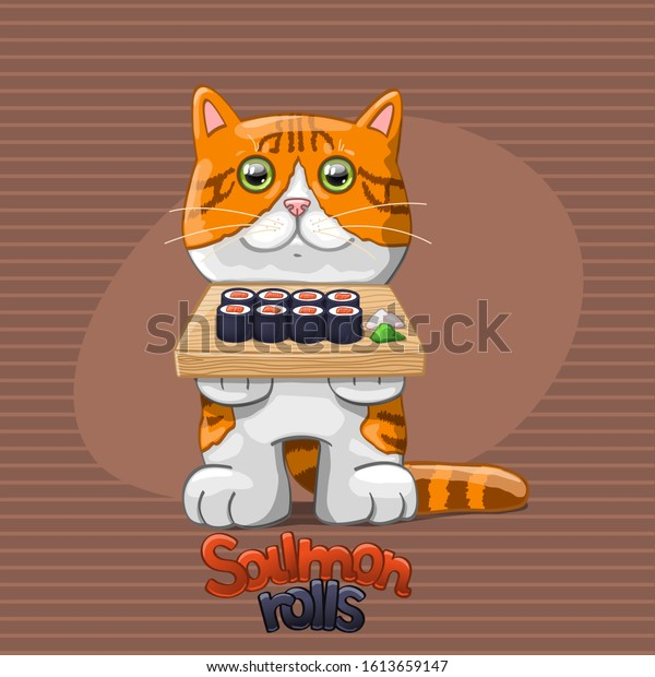 Cat with salmon rolls.  Vector Illustration