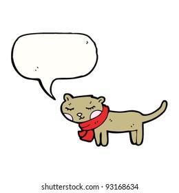 cat with scarf cartoon