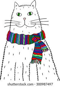 Cat with scarf. Hand drawn illustration.