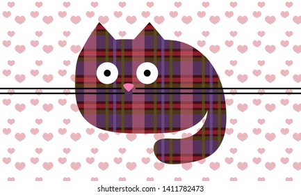 Cat from Scottish pattern on the pink hearts and white background